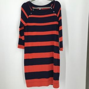 Banana Republic Orange and Navy Stripe Dress